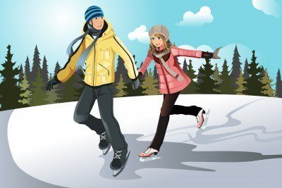Illustration of a couple ice skating and holding hands