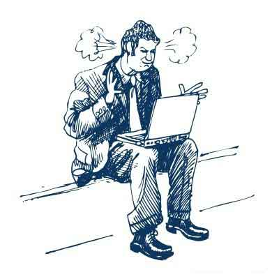 Illustration of an angry man with a laptop on his lap