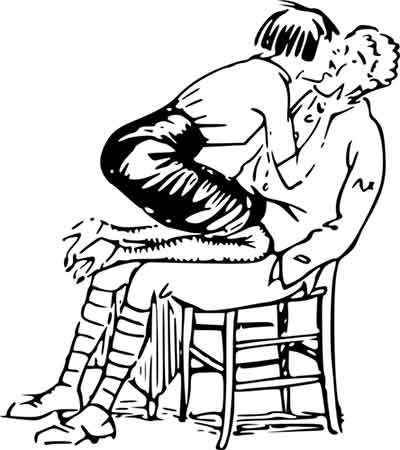 Illustration of a woman aggressively kissing a man on the chair