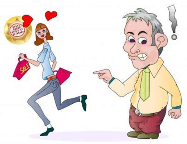 Funny Illustration of a man hate shopping with his girlfriend