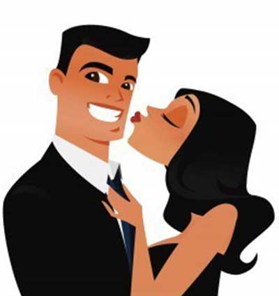Funny illustration of a smiling man and a girl kissing him on his cheek