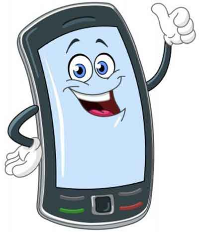 Illustration of a funny mobile phone character with thumb up