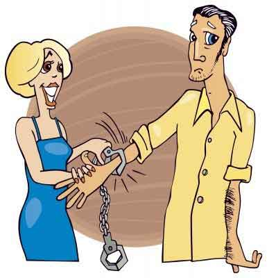 Illustration of a girl forcing her boyfriend to stay with her by putting handcuffs on him