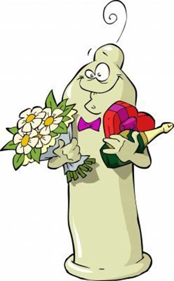 Illustration of a smiling condom character holding flowers and a bottle of champagne