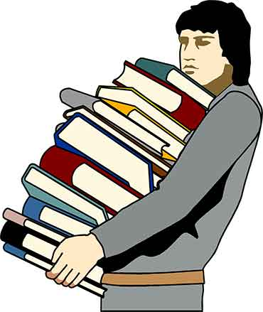 Illustration of a young man carrying a stack of books