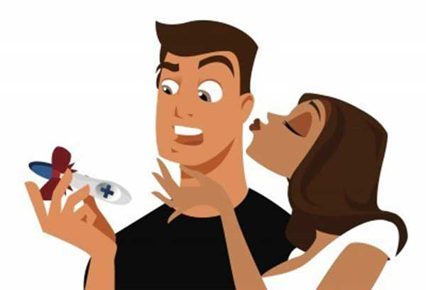 Funny illustration of a surprised man looking at girlfriend's pregnancy test