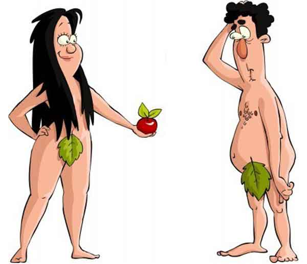 Funny illustration of Eve offering apple to Adam