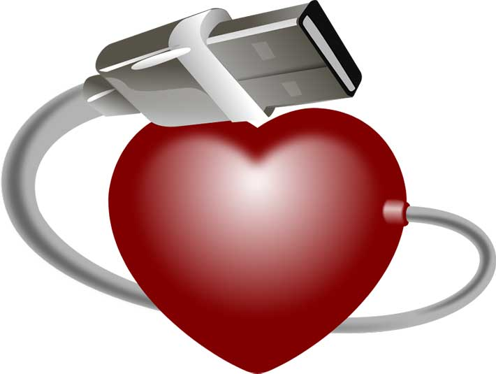 Illustration of a red heart with a USB cable