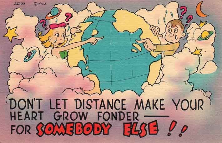 Long distance relationship - Illustration of a boy and girl on different side of the globe