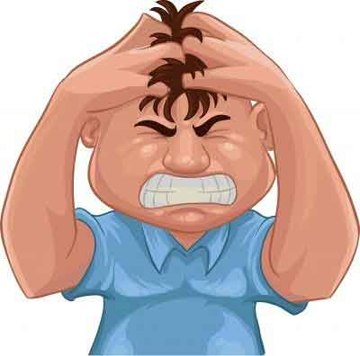 Illustration of a sad and angry man pulling his hair