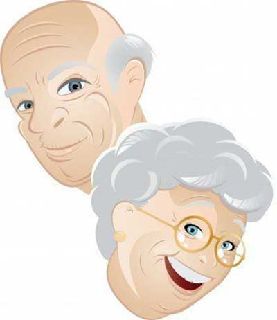 Illustration of an old happy couple